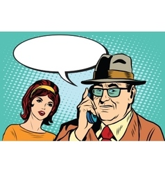 Woman and man talking on the phone vector