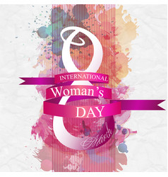 women day background with frame flowers 8 march vector image