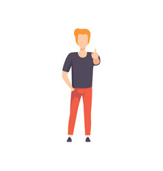 young man showing middle finger up sign rude sign vector image