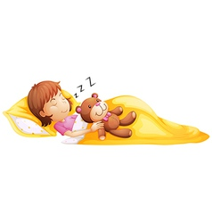 A young girl sleeping with her toy vector image vector image