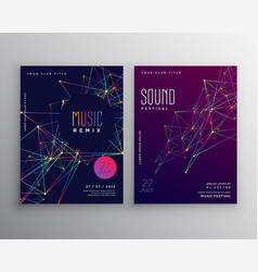 abstract digital lines music flyer poster vector image