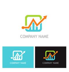 arrow progress business finance logo vector image vector image