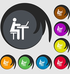 Businessman working on computer icon sign Symbols vector image