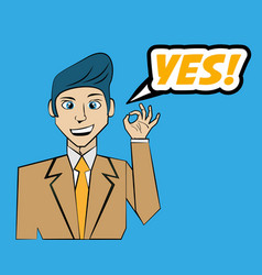 comic man yes pop art vector image