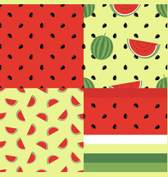 cute seamless pattern collection with watermelons vector image