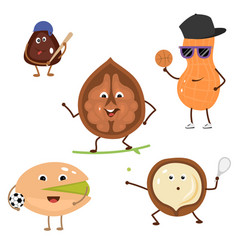 set of funny characters from sports nuts vector image vector image