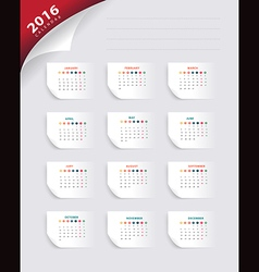 calendar 2016 new year paper banner template vector image vector image