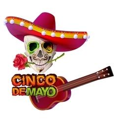 Cinco de mayo mexican skull in sombrero holding vector
