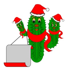 Funny Christmas cactus with a big blank paper vector image vector image
