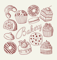 hand drawn bakery sweets desserts doodle vector image vector image