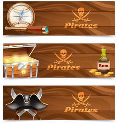 Three horizontal pirate banners vector image