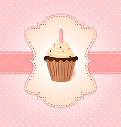 Vintage pink greetings card Cream cake with candle vector image
