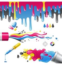 cmyk splashes vector image vector image