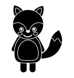 cute fox animal standing cartoon wildlife vector image