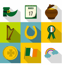 happy st patricks day icon set flat style vector image vector image