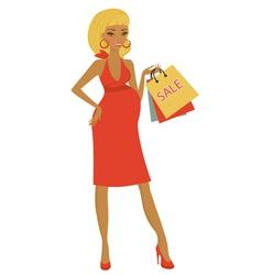 Preggy shopping at sales vector image vector image