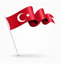 Turkish pin wavy flag vector