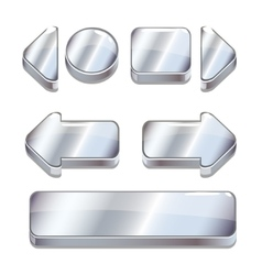 Cartoon silver buttons for game or web vector image vector image