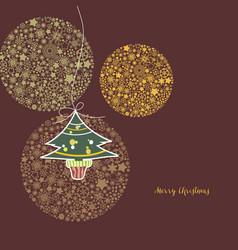 christmas greeting card cute christmas tree vector image vector image