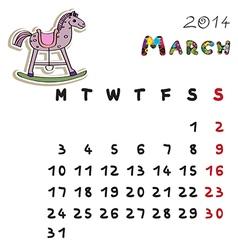 color horse calendar 2014 march vector image