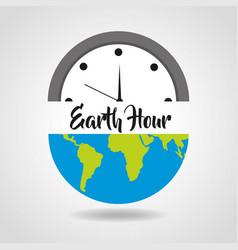 Earth hour save energy clock world vector