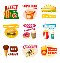 fast food icons of sandwich drink and snack vector image