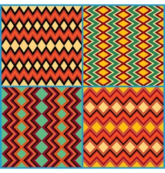 Four seamless ornamental patterns on ethnic motifs vector