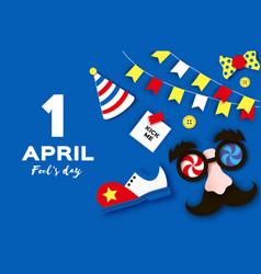 1 april fools day funny crazy mask glasses kick vector image