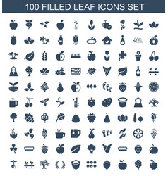 100 leaf icons vector