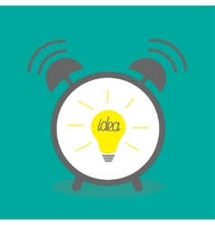 Alarm clock with yellow idea light bulb icon Flat vector