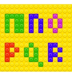 Alphabet construction lego brick blocks 3 vector image