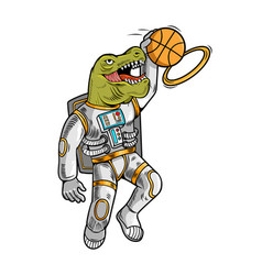 Astronaut t rex which play basketball vector