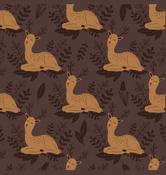 badeer seamless pattern cute deer and vector image