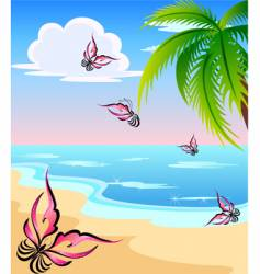 beach and butterflies vector image