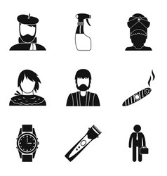 Brutal man icons set simple style vector
