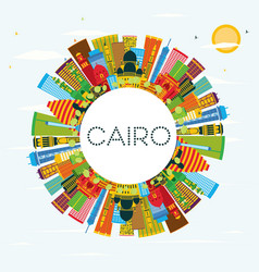 cairo egypt city skyline with color buildings vector image