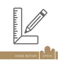 Carpenter square and pencil icon vector