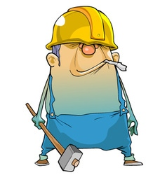 Cartoon man working in a helmet and with a hammer vector image