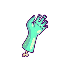 cartoon zombie hand in blue color vector image