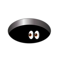 cartoony big scared eyes looking out a dark vector image