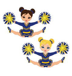 Cheerleader in blue yellow uniform with pom pom vector