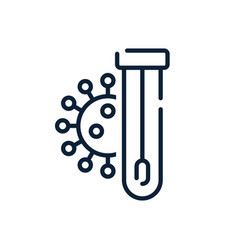 Covid19 pcr test line icon corona virus vector