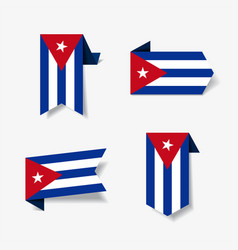 cuban flag stickers and labels vector image