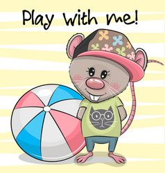 Cute cartoon rat with a ball on a yellow vector