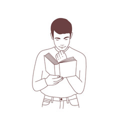 cute pensive young man reading book or preparing vector image