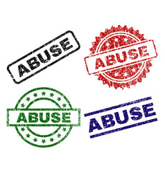 Damaged textured abuse seal stamps vector
