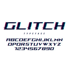 Distorted glitch style font design alphabet vector
