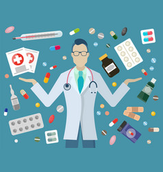 doctor and pills drugstore medicines pharmacy vector image