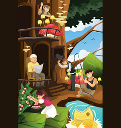 Elf living in the tree house vector