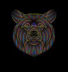 engraving stylized psychedelic bear on black vector image